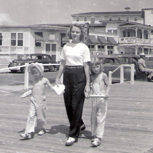 Mother on the boardwalk